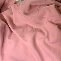 NEW! MILLENNIAL Pink GLOSSIER Hoodie With Logo HAPPY FACE LOGO AND TEXT SMALL image 2
