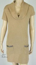 INC Bisque Brown Sweater Dress Cowl Neck Short Sleeve New 8945 - $19.78