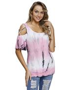 Coral Tie Dye Print Crisscross Cold Shoulder Top  - $22.53