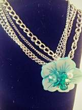 Vintage Multistrand Chain Link Necklace with Blue Flower Faux Pearl Glas... - $19.95