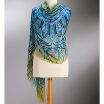 "Smithsonian Peacock Feathers Shawl 81"" Long - $49.99"