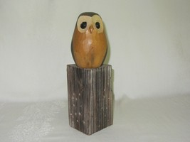 Hand Carved Wood Owl Figure Figurine on Wood Log Stand Rustic Folk Art - $39.59