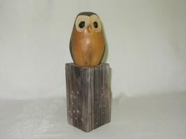 Hand Carved Wood Owl Figure Figurine on Wood Log Stand Rustic Folk Art - $39.59