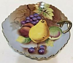 VTG Lefton China Hand Painted Fruit Gold Trim Leaf Shaped Dish Plate 201278 - $16.69