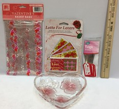 Valentines Day Gift Lot Glass Heart Dish Gift Bags w/ Tags & Lotto For L... - $10.34