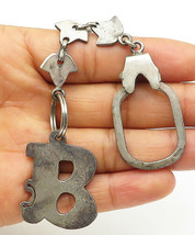 925 Sterling Silver - Vintage B Initial Rustic Linked Key Chain - T1533 - $64.42