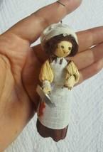 "Vintage Old World Corn Husk Woman W Pan Christmas Tree Ornament • Pre-owned 3.5"" - $8.96"