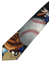 "New Looney Tunes Mania Tie Men's Neck Tie Baseball Black Designer 56"" - $8.95"