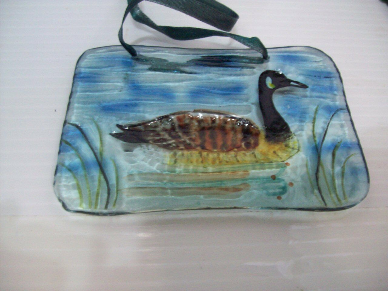 "Canadian Goose Suncatcher Hand Painted Glass 4.5""  Home Decor"