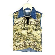 Dress Barn (Q-07) Women's Small Vest Safari Cheetah Zebra Zipper Front  - $199,05 MXN