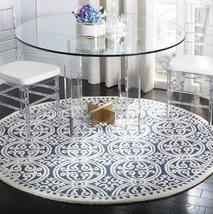 Navy Blue Cream 6' Round Area Rug Meddalion Trellis Wool Handmade Carpet... - $223.29