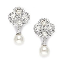 Mariell Vintage Art Deco Pearl Drop Clip On Earrings for Weddings - Nonp... - $30.68