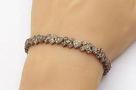 BEVERLY HILLS 925 Silver - Vintage XO Love Heart Pattern Chain Bracelet ... - $48.16