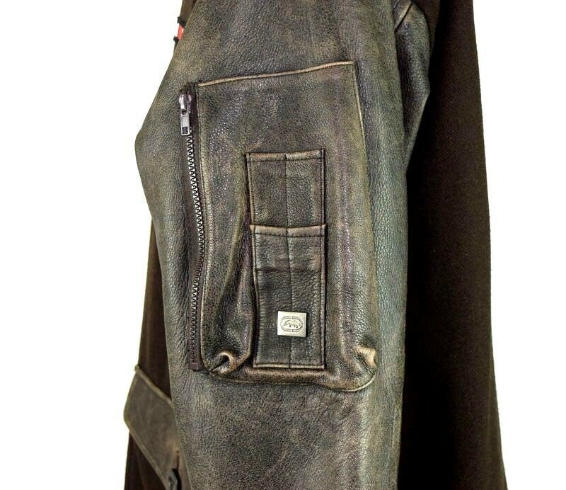 Marc Ecko Leather & Wool Heavy Bomber Jacket Brown Varsity Style Button Mens XL image 8