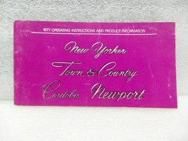 NEW YORKER TOWN & COUNTRY CORDOBA NEWPORT 1977 Owners Manual 16521 - $18.76