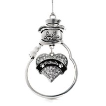Inspired Silver Pitbulls Paw Prints Pave Heart Snowman Holiday Christmas Tree Or - $14.69