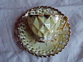 Pale Yellow Lusterware Vintage Tea Cup w/ Pierced Saucer Unmarked Geometric - $19.80