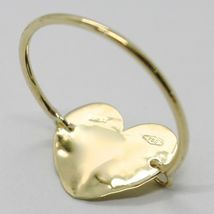 18K YELLOW GOLD FLAT HEART RING, FINELY WORKED, SATIN, HAMMERED, MADE IN ITALY image 5
