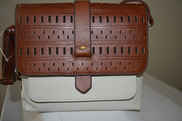 "NWT $148 FOSSIL KINLEY EMBOSSED LEATHER SMALL CROSSBODY ""VANILLA"" #ZB716... - $66.33"