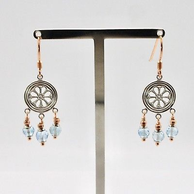 925 Silver Earrings Laminate Rose Gold with aquamarines Faceted