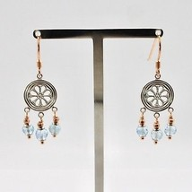 925 Silver Earrings Laminate Rose Gold with aquamarines Faceted image 1