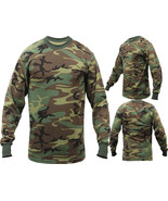 Tactical Long Sleeve Camo Tee Mens Woodland Camouflage Military Army T-S... - $12.99+