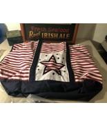 American Flag Star CANVAS TOTE - BEACH BAG W/ XL Sandles Set (set retail... - $34.60