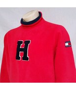 VTG Tommy Hilfiger Fleece Jacket 90's Spell Out Flag Sweatshirt Lotus Me... - $59.99