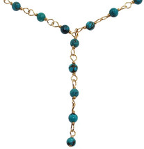 Handmade 14-kt Gold Filled Brass Y-Necklace with Turquoise Beads, 20' - $510.10