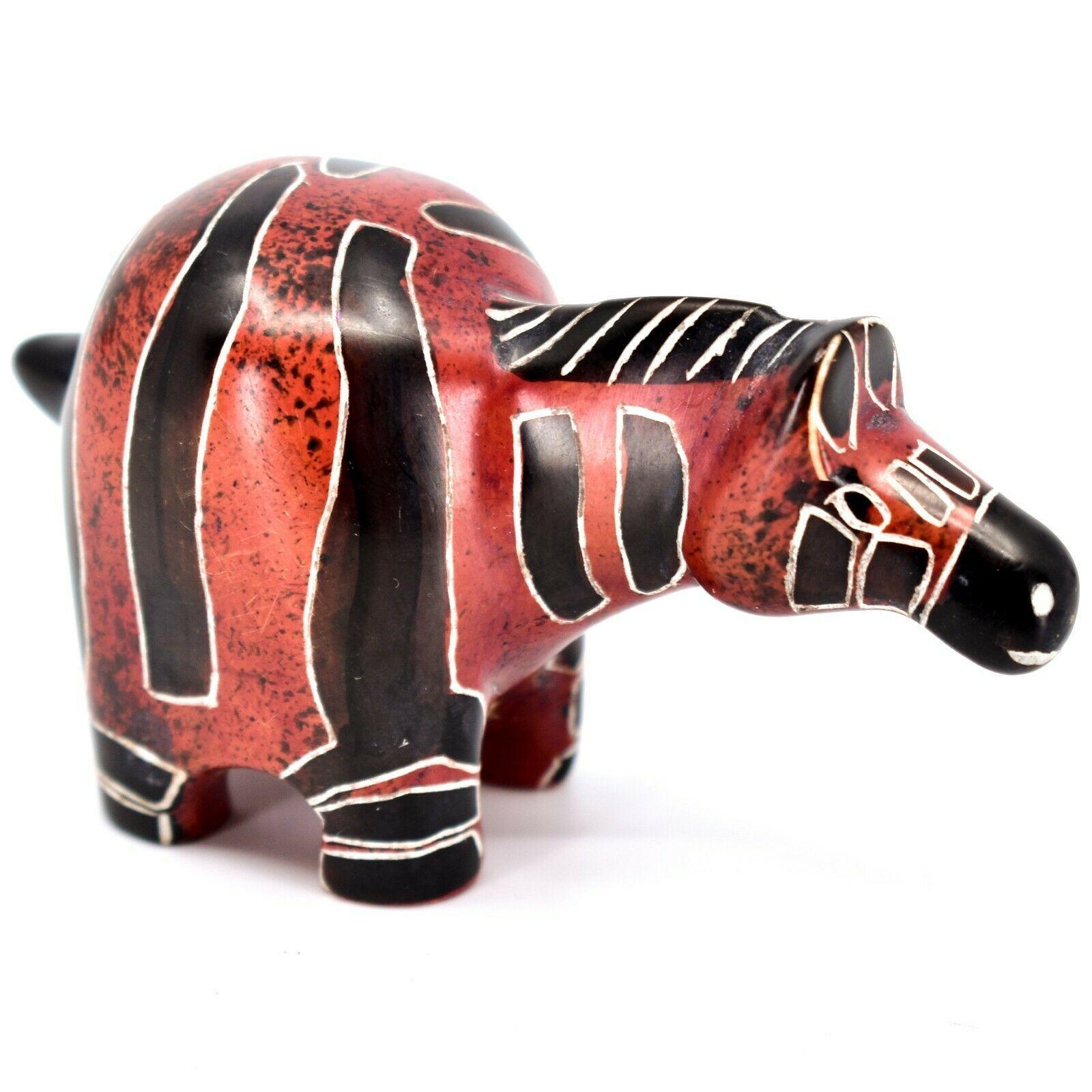 Crafts Caravan Hand Carved Soapstone Red & Black Chubby Zebra Figurine Kenya