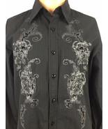 Roar Men Poplin Douce Black Striped Long Sleeve Button Front Dress Shirt... - $29.99