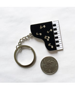 Baby Grand Piano Key Chain Black & White Enamel on Metal 3D detail Music... - $4.85