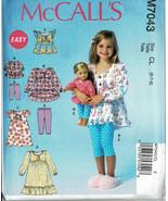 """McCalls Pattern M7043 Pullover Tops Dresses+ Leggings Girls + 18"""" Dolls ... - $6.93"""