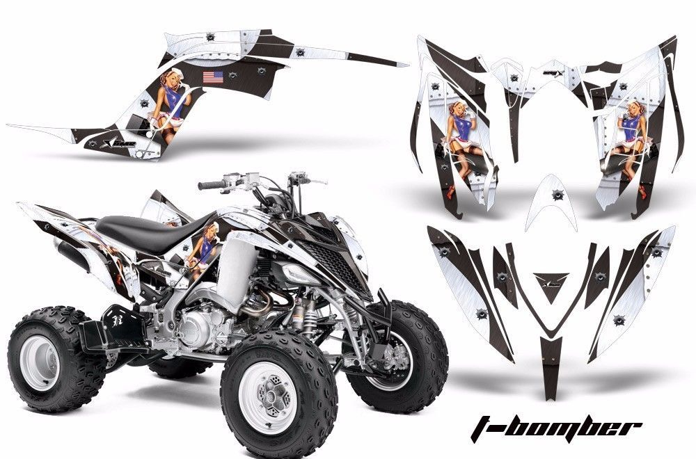 ATV Graphics Kit Decal Sticker Wrap For Yamaha Raptor 700R 2013-2018 TBOMBER WHT