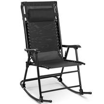 Zero Gravity Folding Rocking Chair Rocker Porch-Black - $94.01