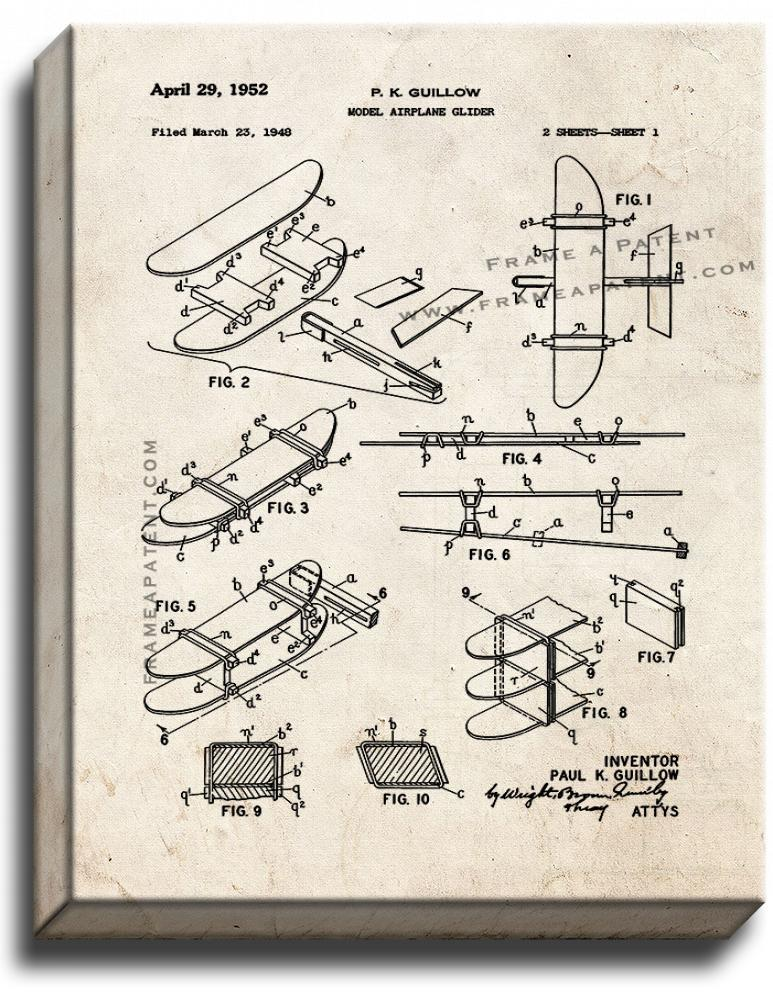 Primary image for Model Airplane Glider Patent Print Old Look on Canvas