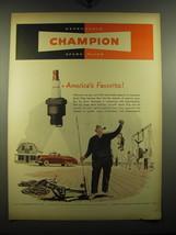 1949 Champion Spark Plugs Advertisement - America's Favorite - $14.99