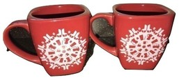 Starbucks 2004 Red Christmas Snowflake Holiday Coffee Cup Heavy Mug Retired - $21.46