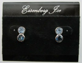New on Card Vintage Eisenberg Ice Blue Rhinestone Pierced Earrings - $14.99