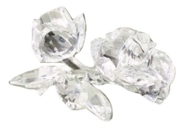 "SHANNON CRYSTAL SCULPTURE ROSE CLUSTER 6""X5"" NEW HAND FAUCETED BY GODINGER - $79.19"