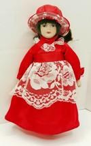 Gorham Ornament Doll Porcelain Doll Victorian Red Dress and Bonnet  - $15.74