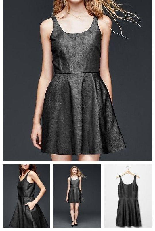 7254f77b525 Gap Linen / Cotton Fit & Flare Black Sleeveless Mini Dress Sz 4 NWT $79.99  - $31.22