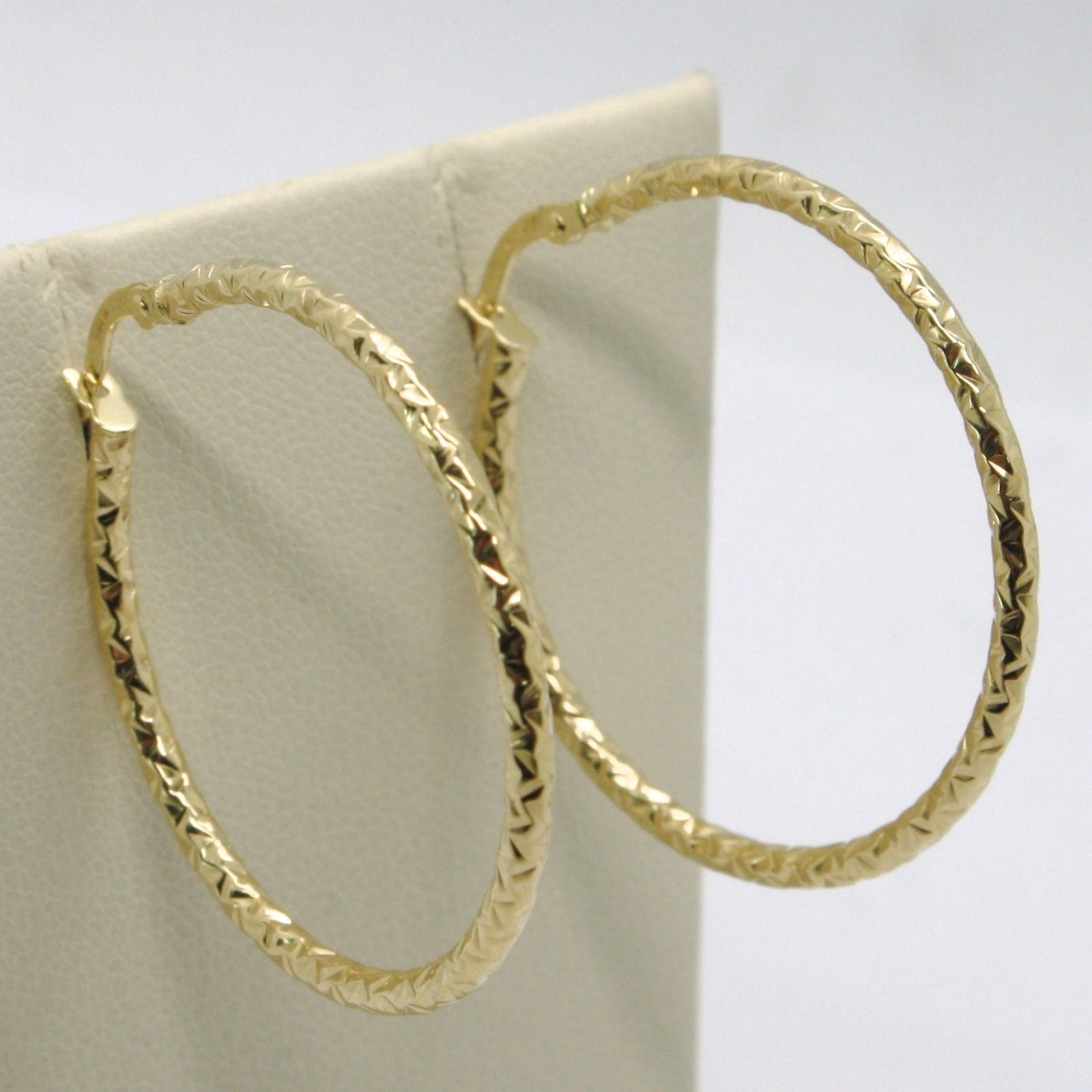 18K YELLOW GOLD CIRCLE HOOPS TUBE HAMMERED EARRINGS 33 MM x 2 MM, MADE IN ITALY