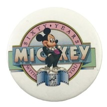 """Mickey Mouse Sixty Years with You 2"""" Vintage Pinback Button Walt Disney - $8.59"""