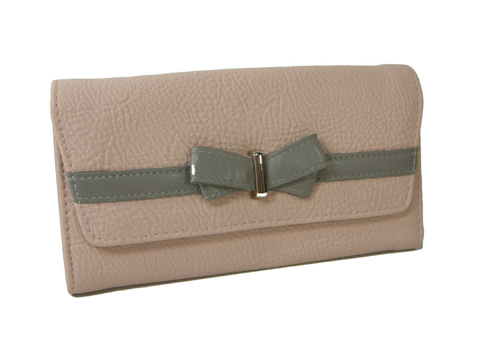 Jessica Simpson Logo Wallet Purse Hand Bag Blush Fog Pink Gray Linea Bow NWT - $39.59