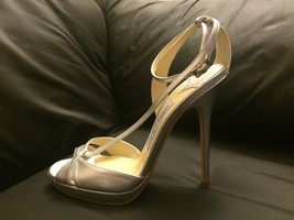 NEW Jimmy Choo Silver Leather Ankle Strap High Heel Sandals Size 37.5 / 7.5 - $320.00