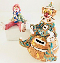 2 Art Pottery Clowns clown bank and sitter signed clay Clowns OOAK Peggy... - $24.75