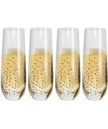 Stemless Champagne Wine Flutes Glasses Set of 4 Round Gold Dot Design Du... - $22.75