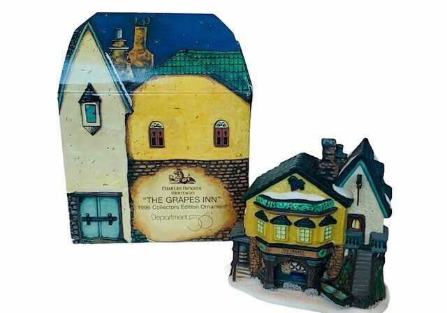 Department 56 Dickens Heritage cottage Christmas Ornament box Grapes Inn 1996  - $19.30
