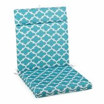 "Aqua Blue Trellis Outdoor Patio Chair Cushion Pad Hinged Seat Back 44"" L... - $58.90"